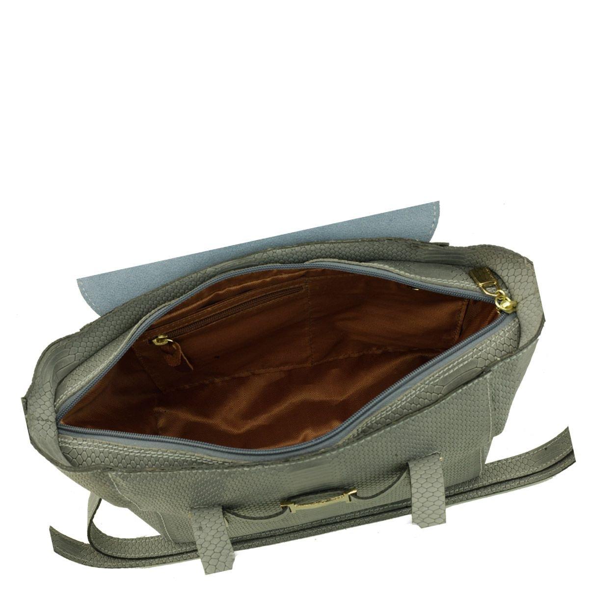 Bolsa Pequena Couro Cinza