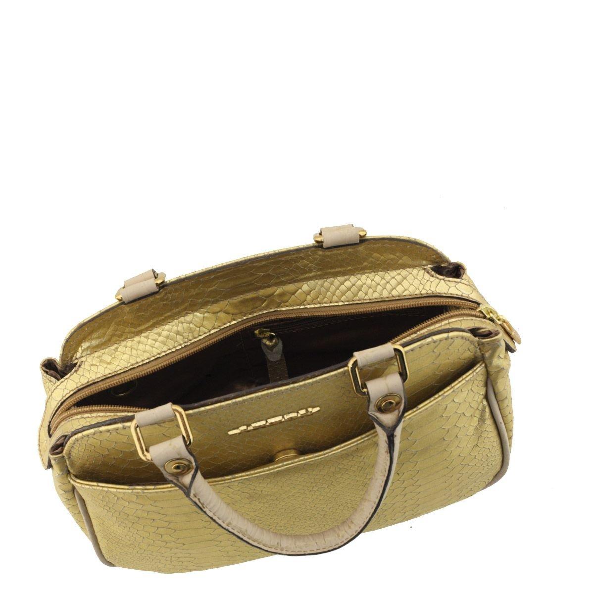 Bolsa Pequena de Couro Dourado