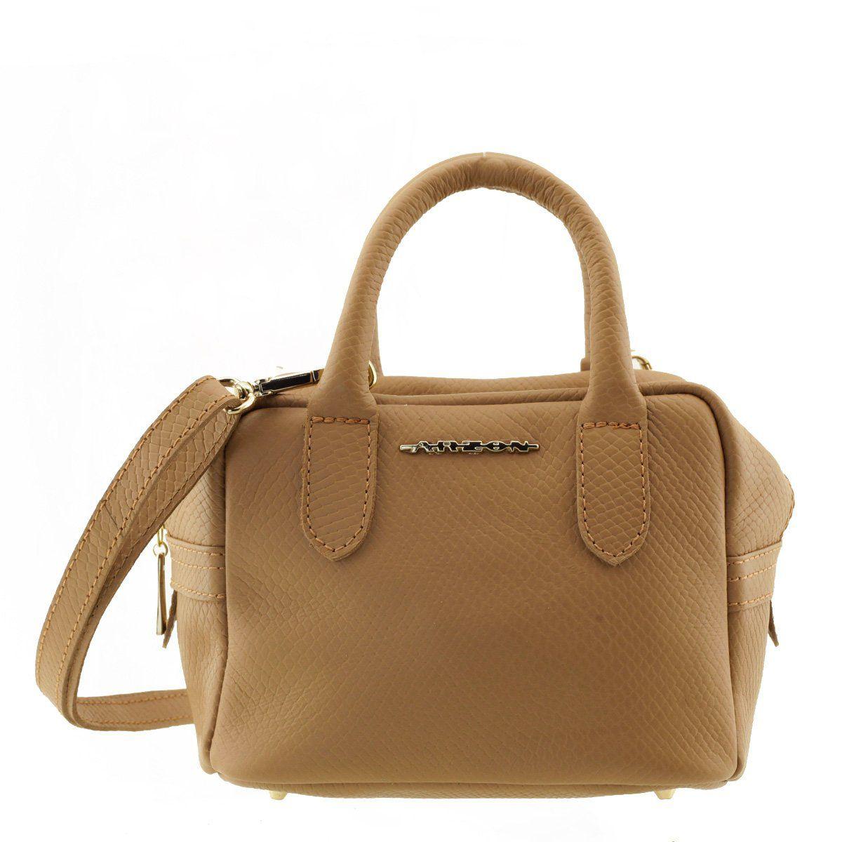9fe3afd6e3 Bolsa Feminina Pequena De Mão Em Couro Camel