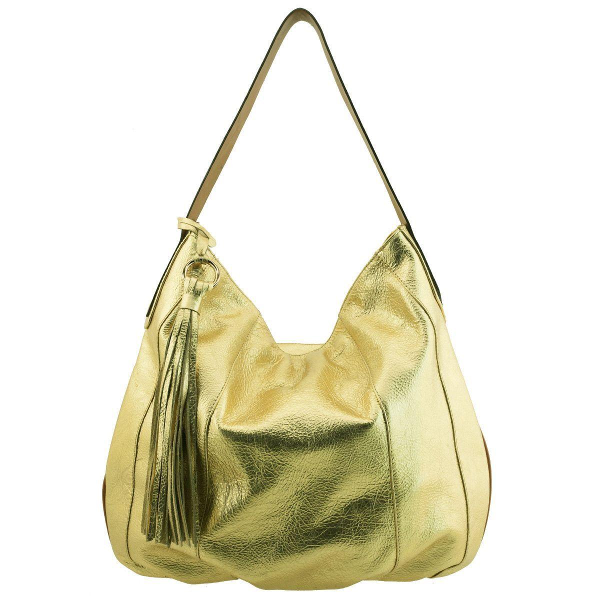Bolsa Saco de Ombro Dourada - ARZON ... 8cd9040216a