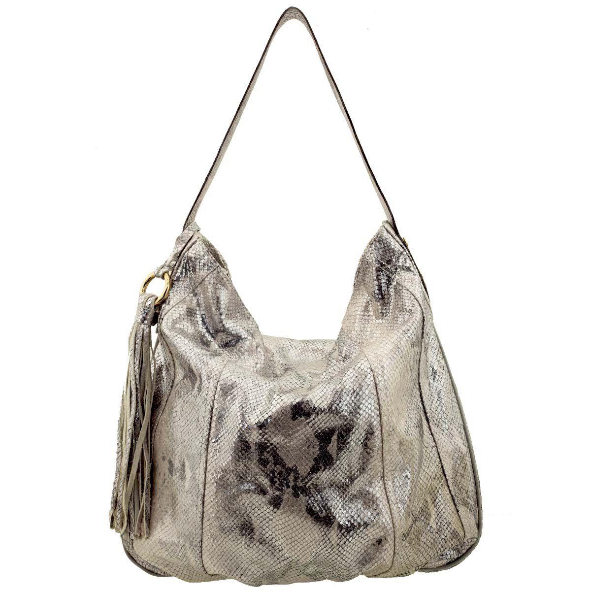 Bolsa Saco de Ombro Metalizada Prata - ARZON ... 7ba7be3ecc0