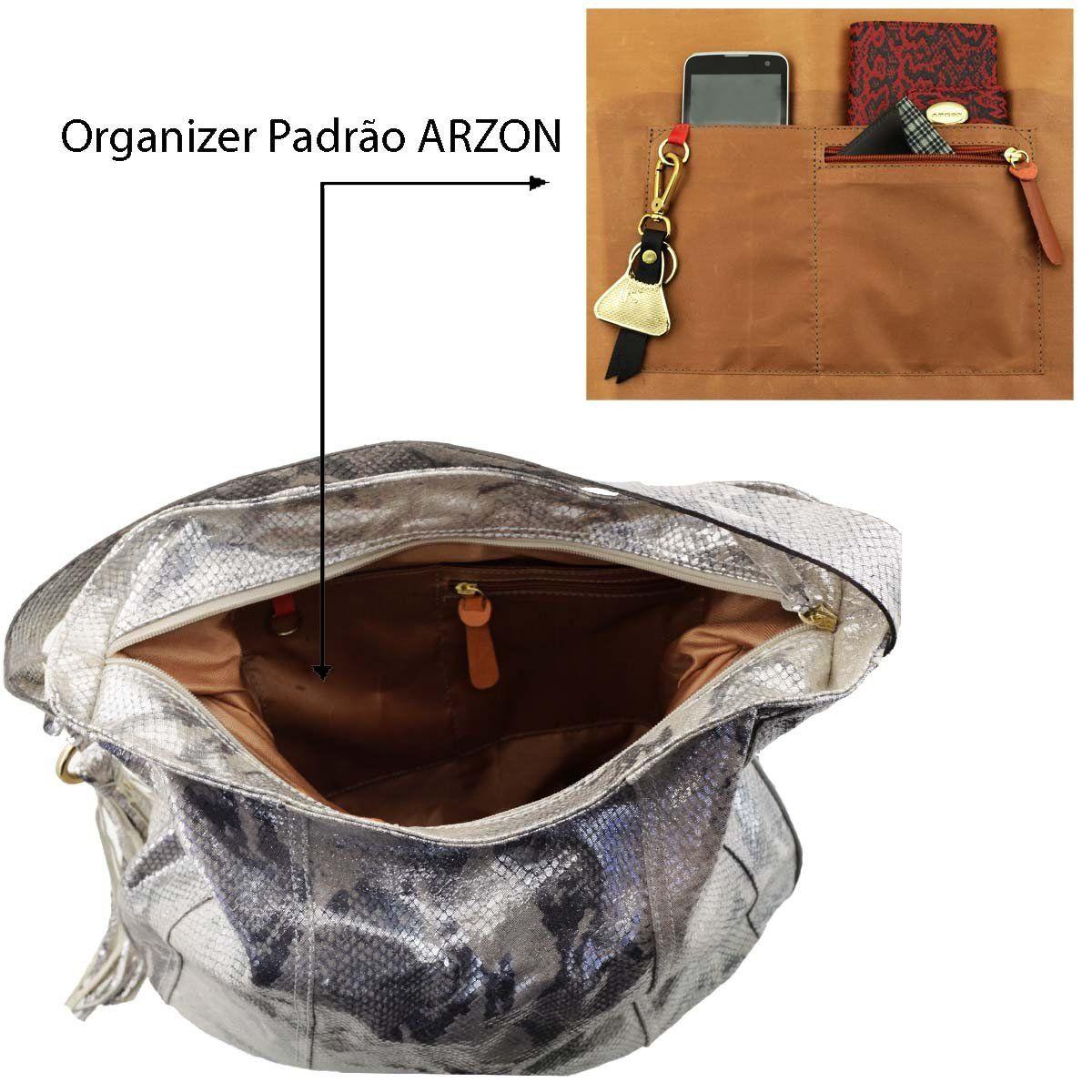 Bolsa Saco de Ombro Metalizada Prata
