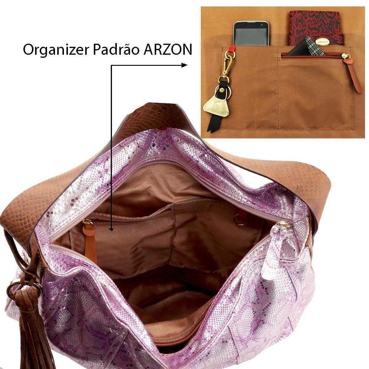 Bolsa Saco de Ombro Metalizada Rosa