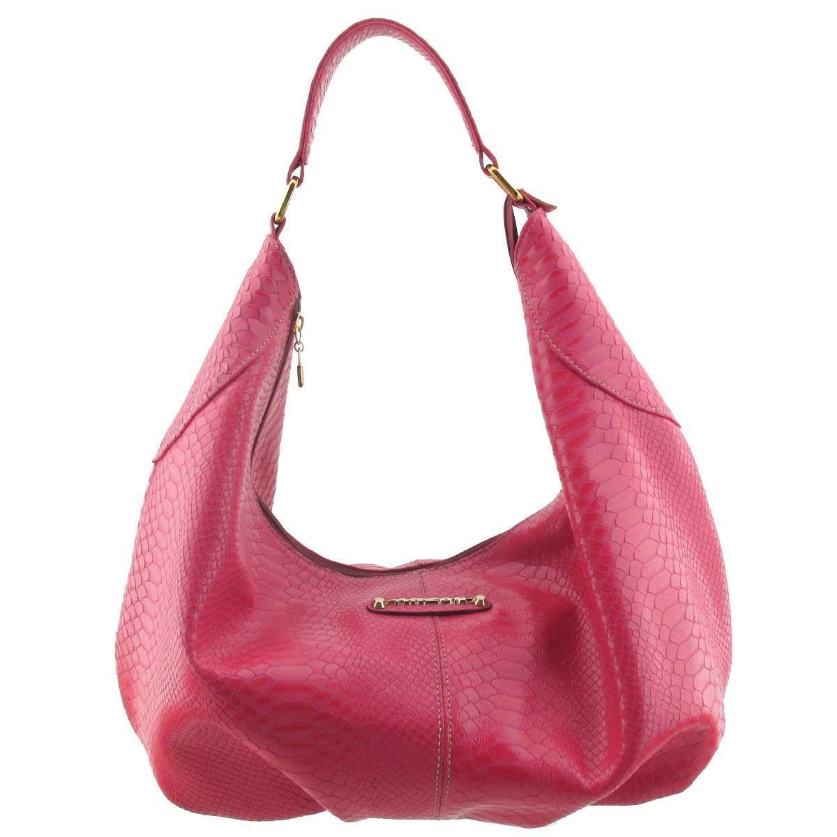 Bolsa Saco em Couro Legítimo Pink
