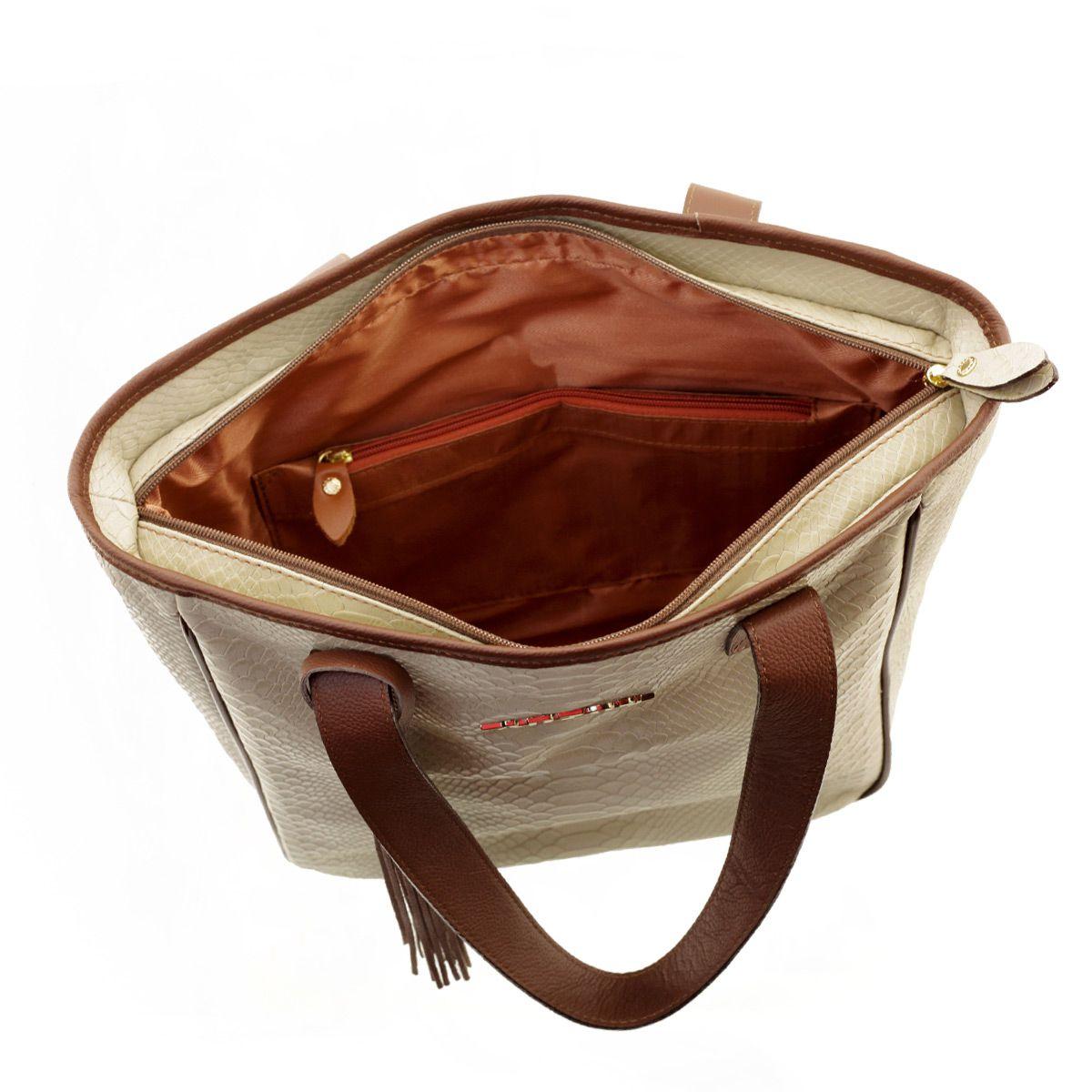 Bolsa Sacola Couro Areia com Chocolate