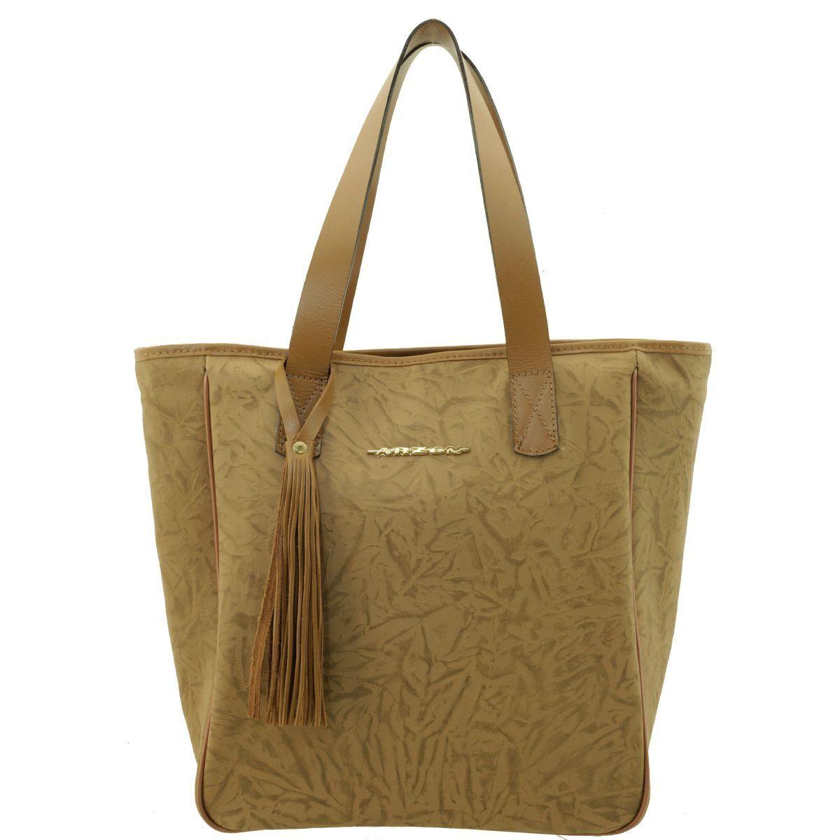 Bolsa Sacola Couro Camel