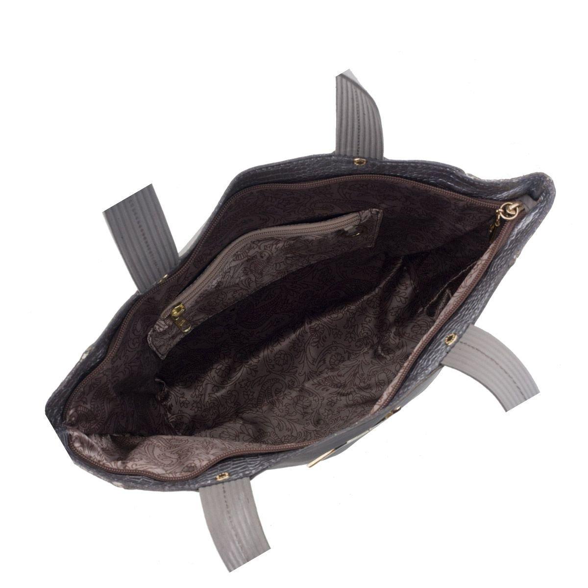 Bolsa Sacola de Couro Cinza