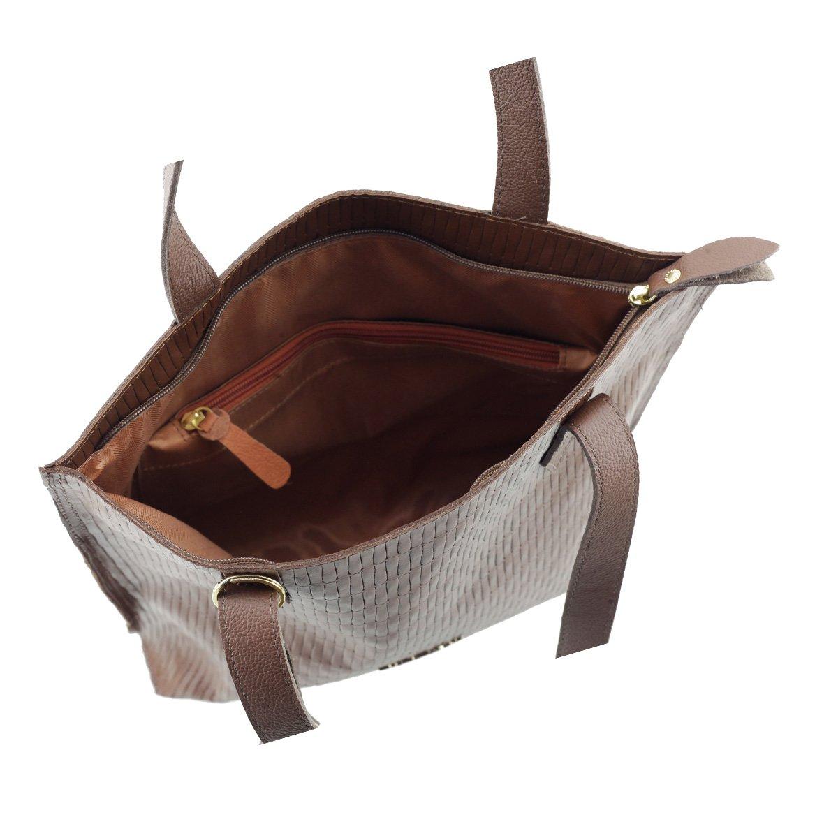 Bolsa Sacola em Couro Legitimo Leve Tressê Chocolate