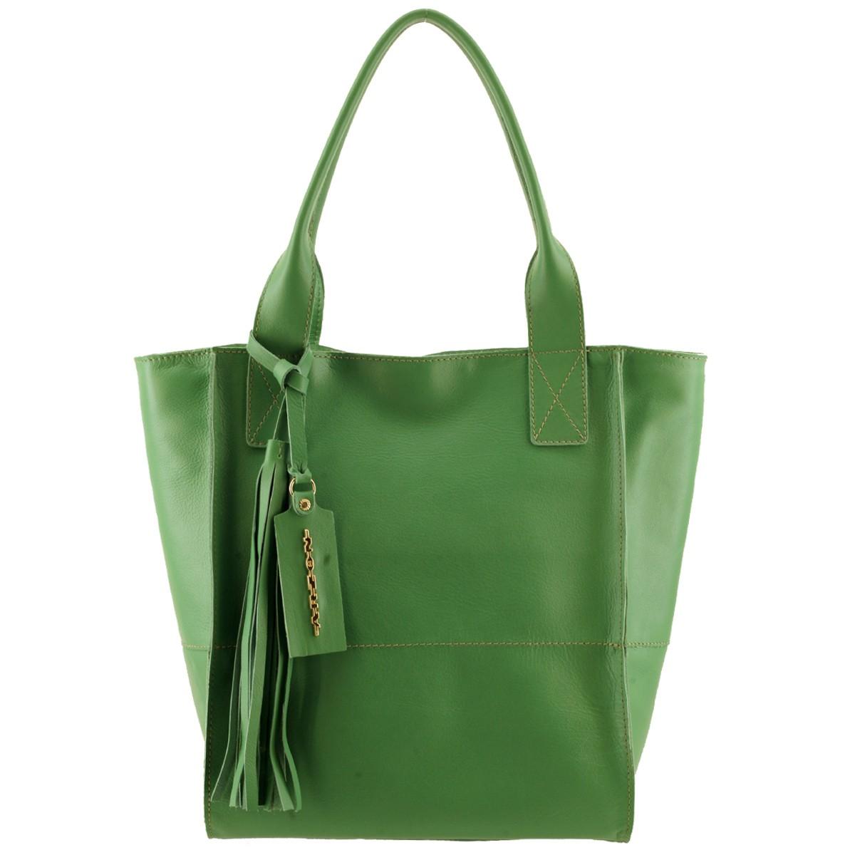 Bolsa Sacola Couro Feminina Verde Limão