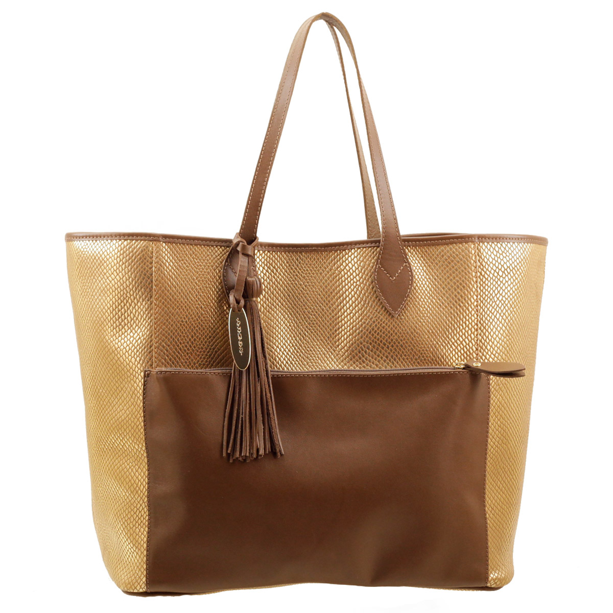 Bolsa Sacola Maxi Gold com Tan