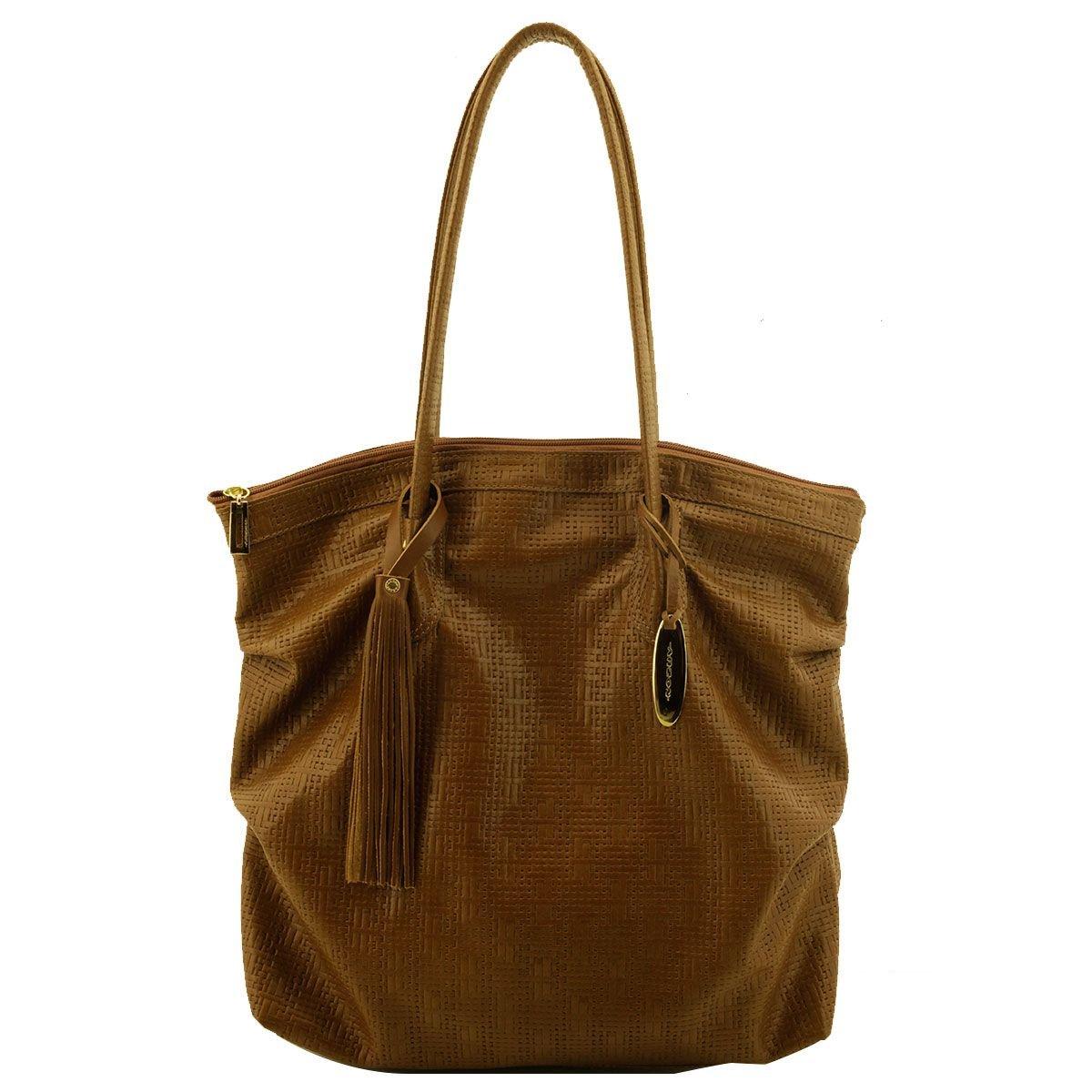 Bolsa Shopping Bag Couro Caramelo