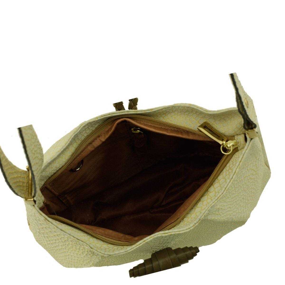 Bolsa Tiracolo com Pregas Dourada