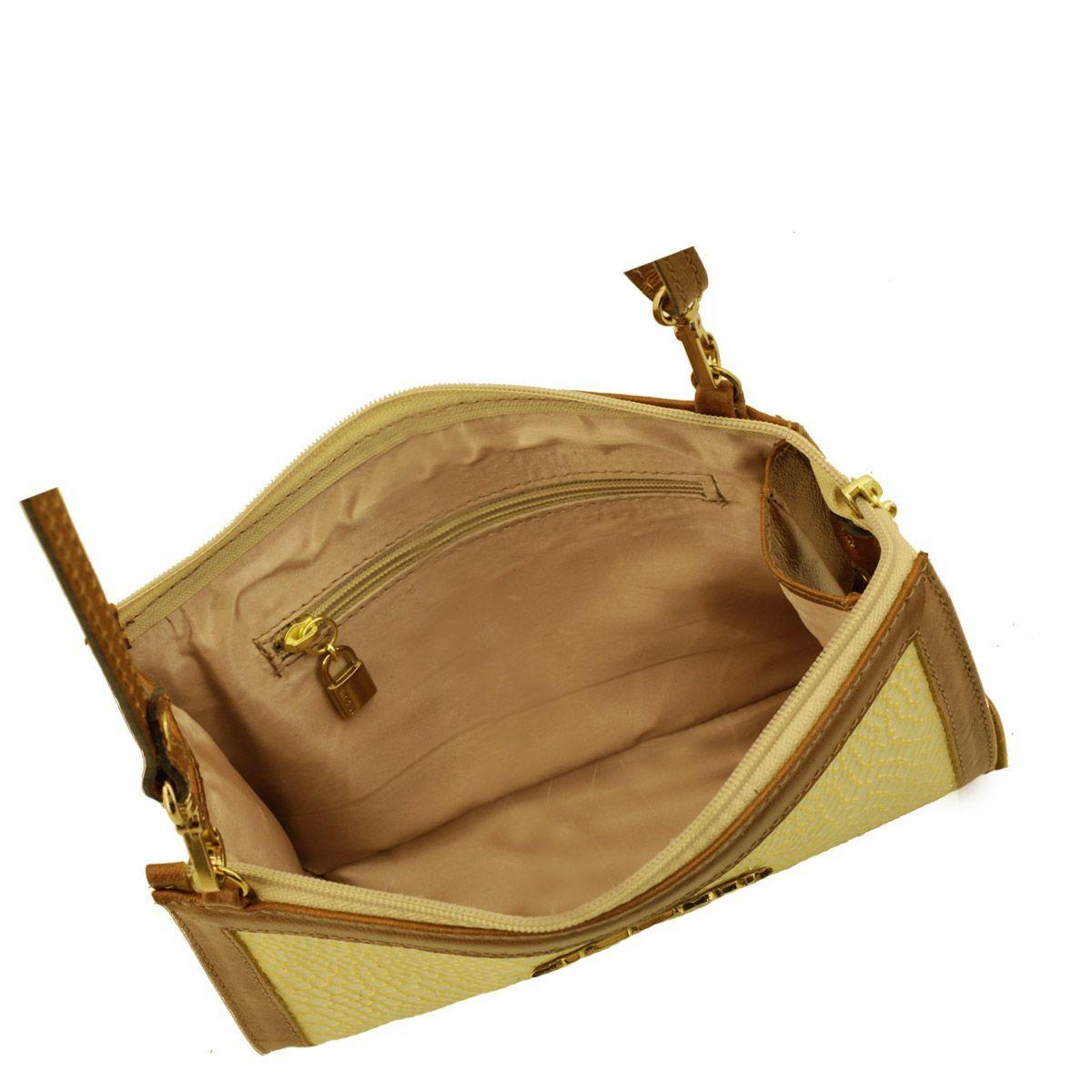 Bolsa Tiracolo em Couro Dourado