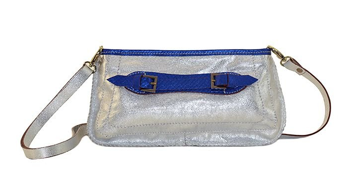Bolsa Tiracolo Prata com Azul