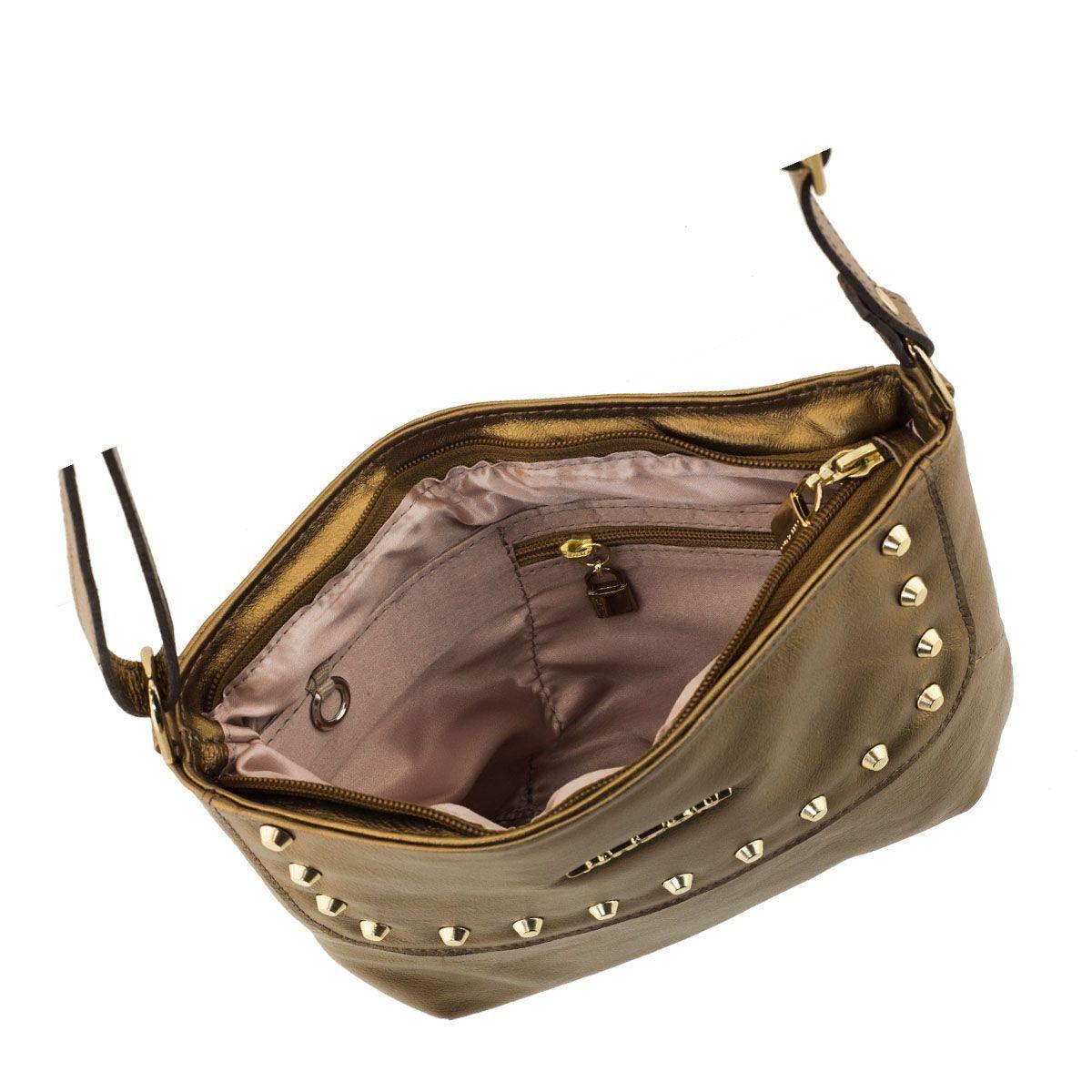 Bolsa Transversal de Couro Legítimo Bronze
