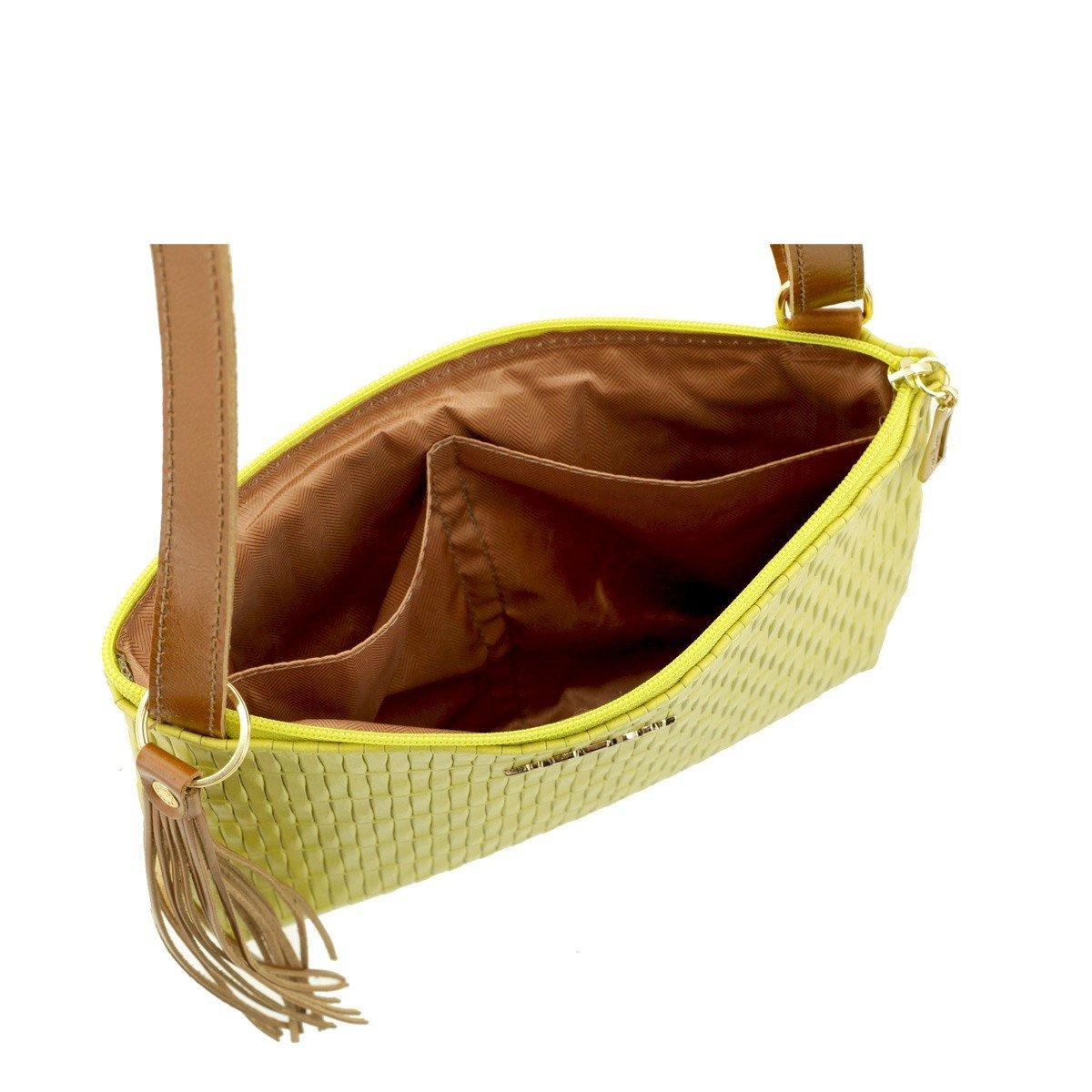 Bolsa Transversal Couro Legitimo Amarelo com Caramelo