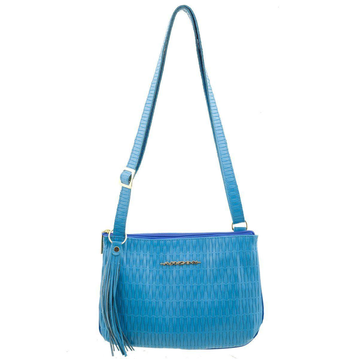 e4998f91d Bolsa Transversal Couro Legítimo Azul Claro - ARZON ...