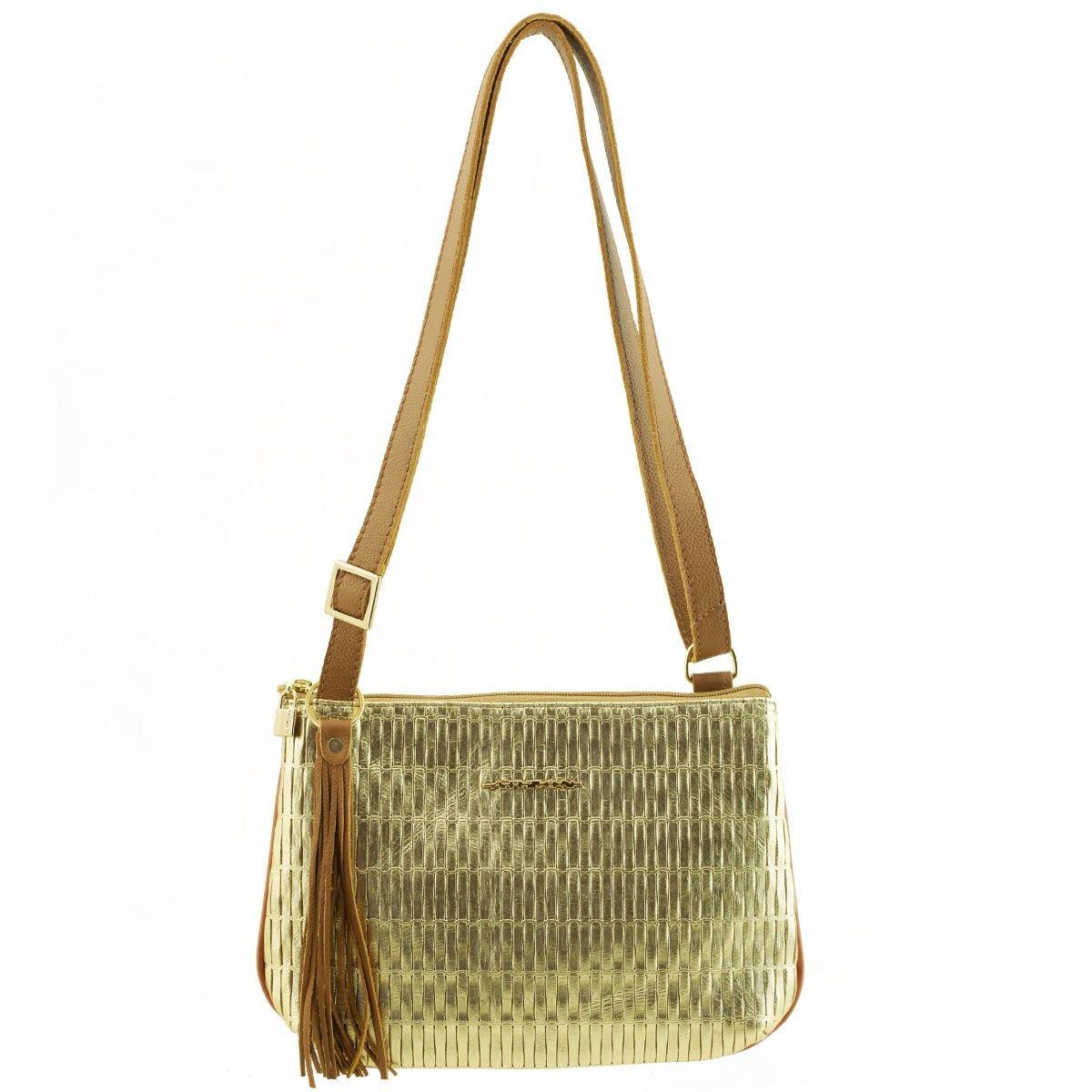 Bolsa Transversal Pequena Dourada com Caramelo