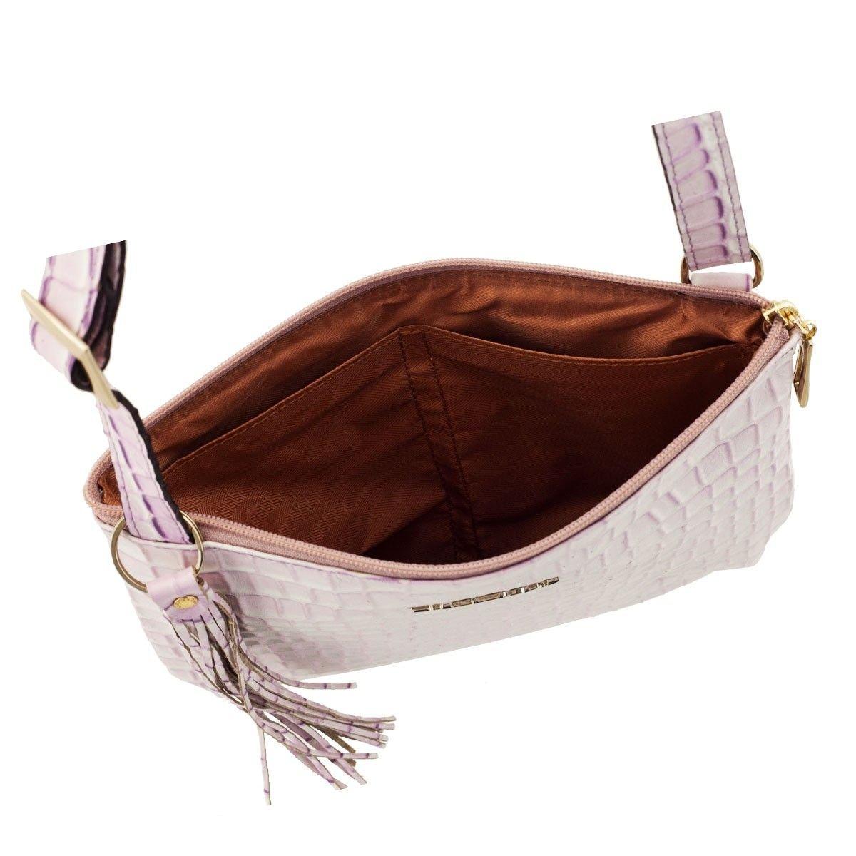 Bolsa Transversal Pequena Lilás com Branco