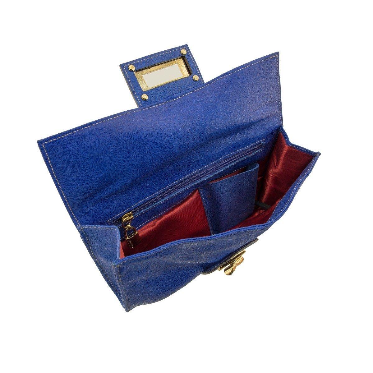Carteira de Mão em Couro Azul