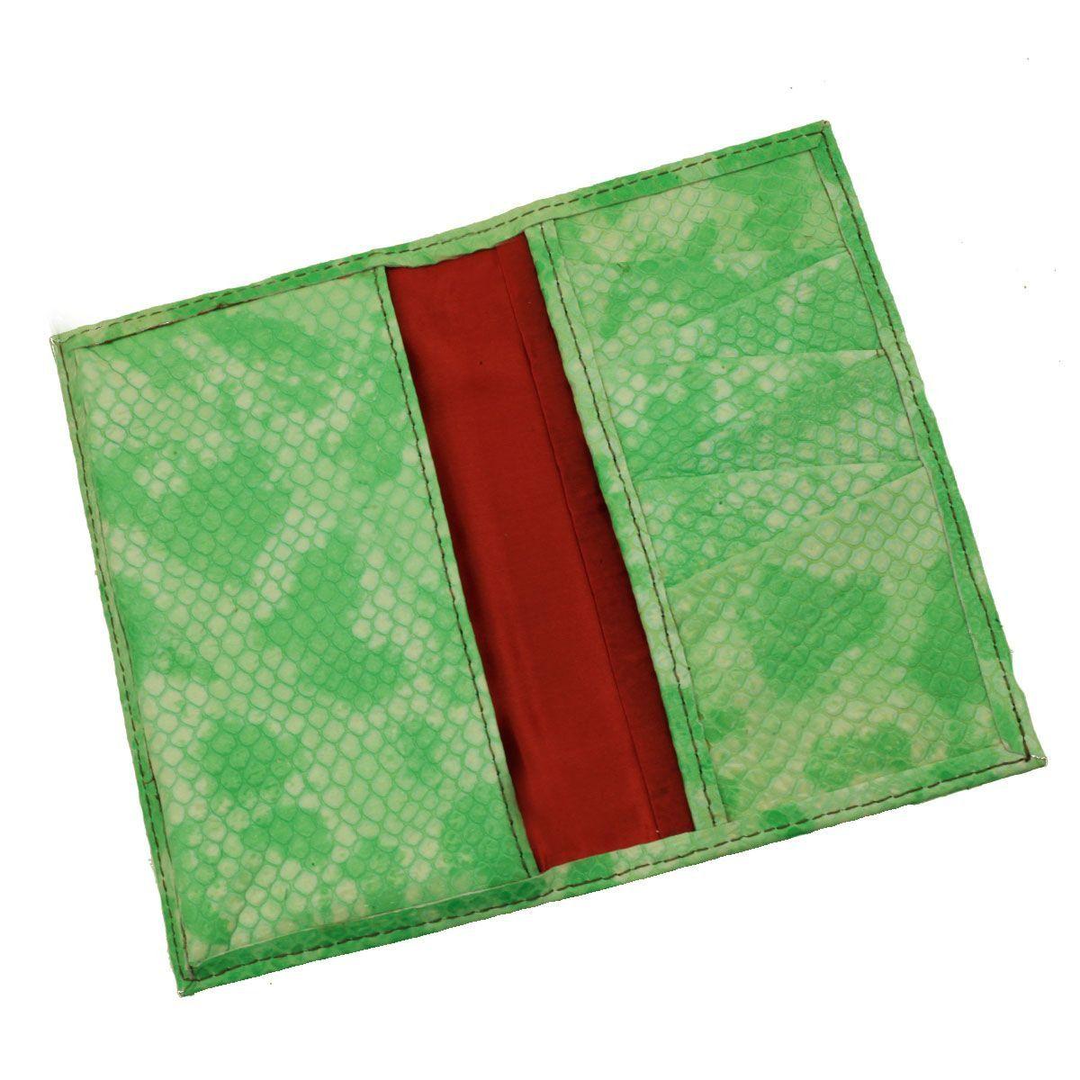 Carteira Porta-Celular em Couro Esmeralda