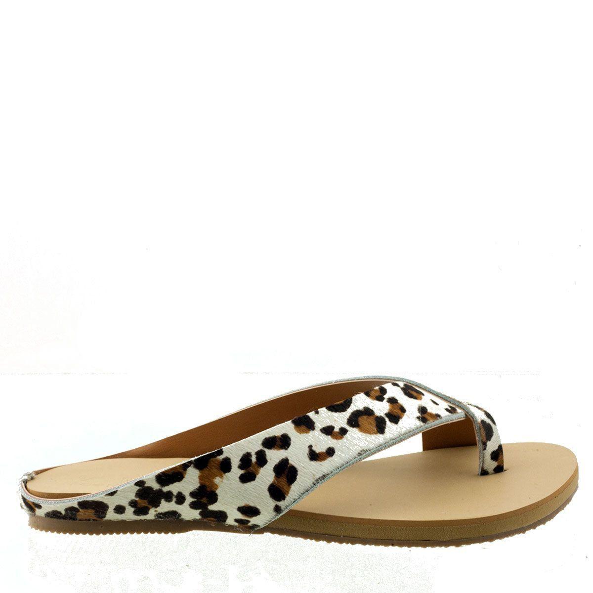 Chinelo Couro Leopardo