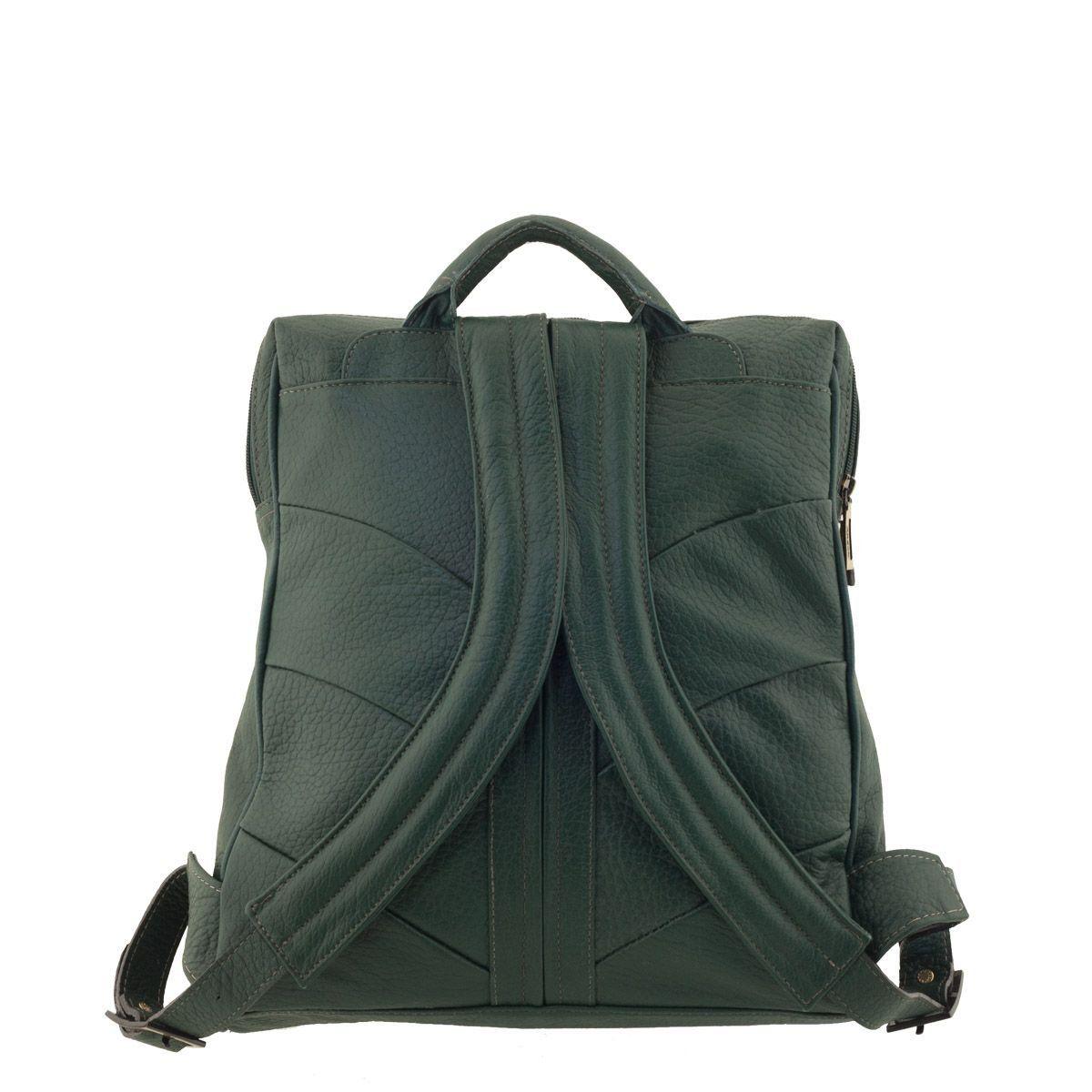 Mochila de Couro para Notebook Verde Escuro