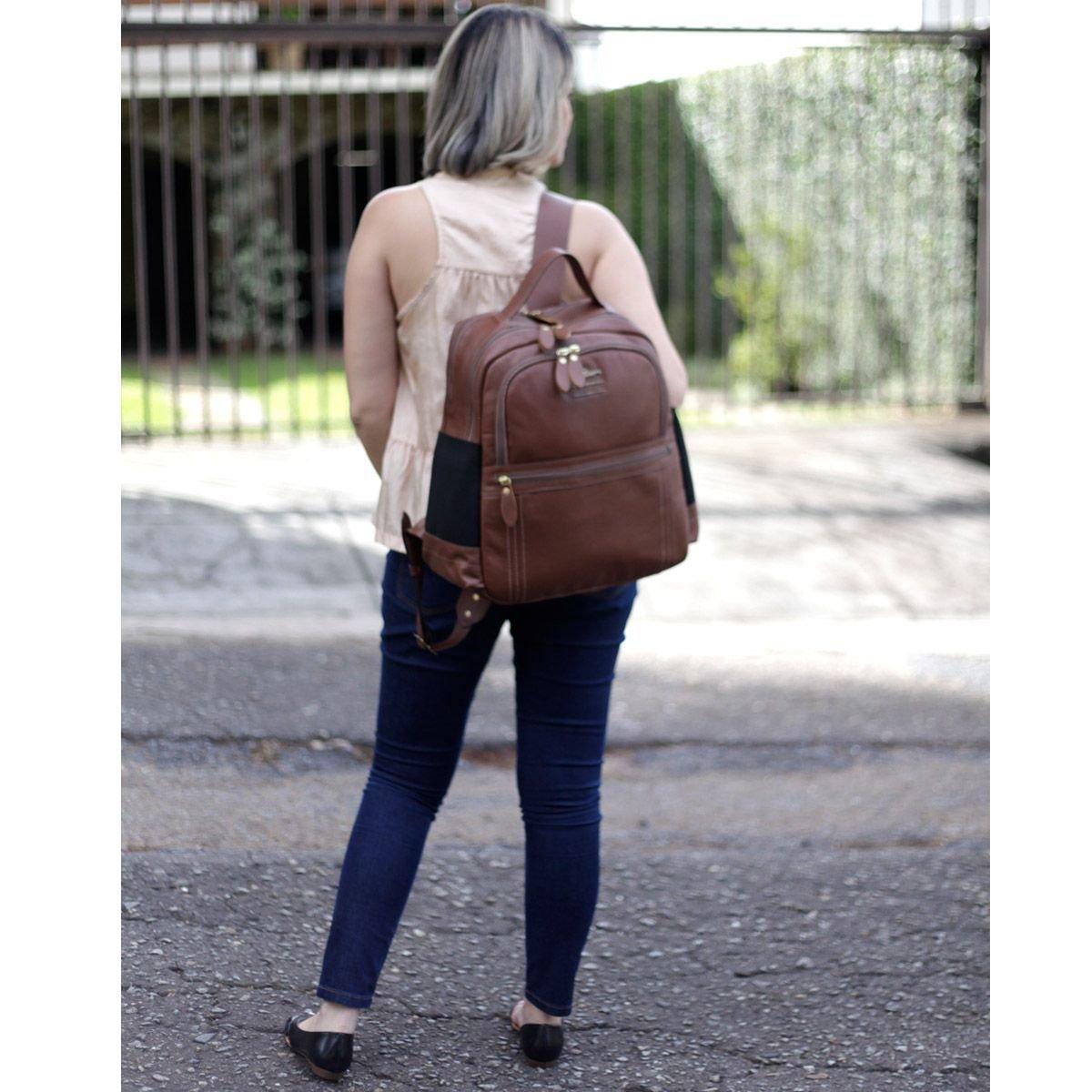 """Mochila Couro Legítimo Notebook até 15.7"""", Chocolate"""