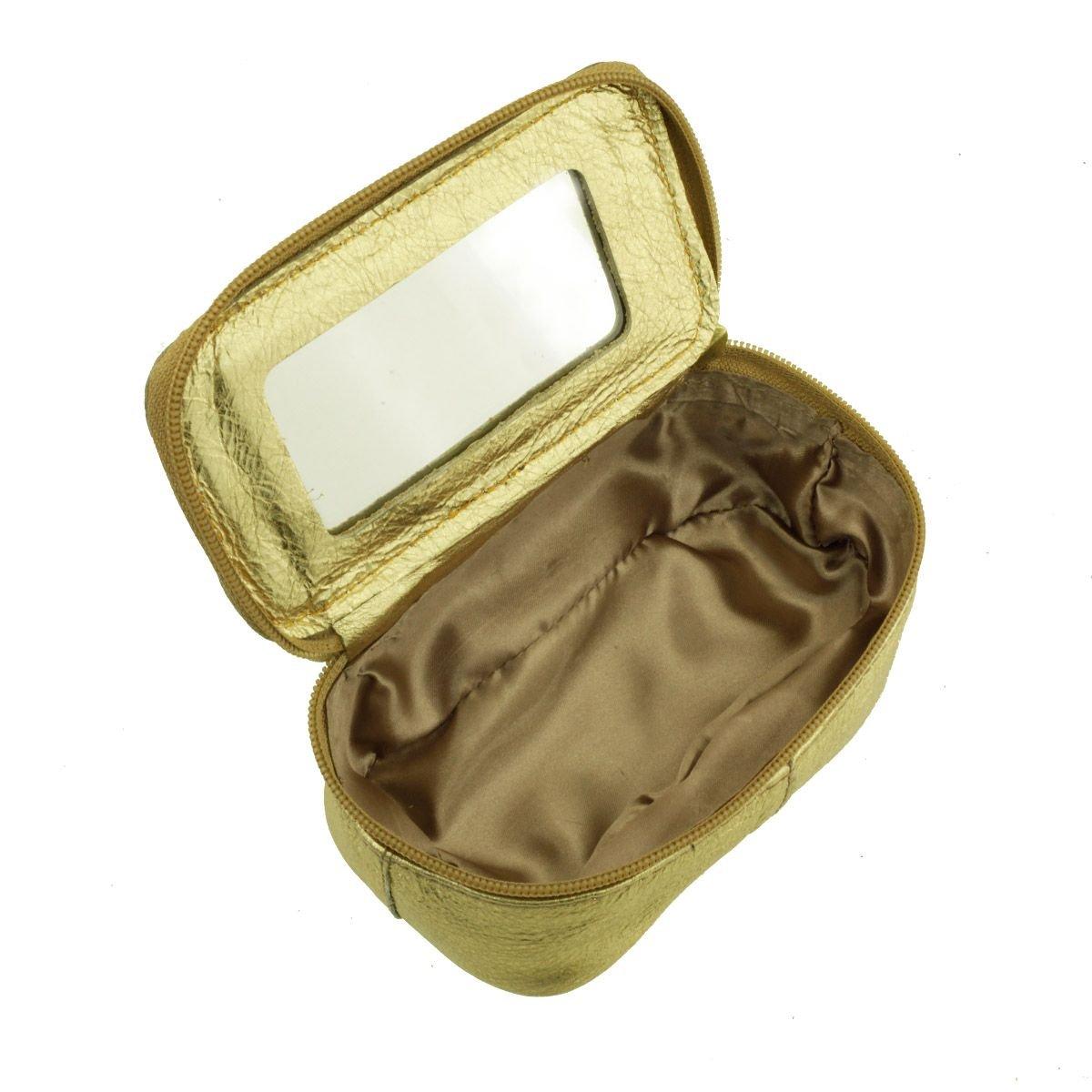 Necessaire com Espelho Dourada