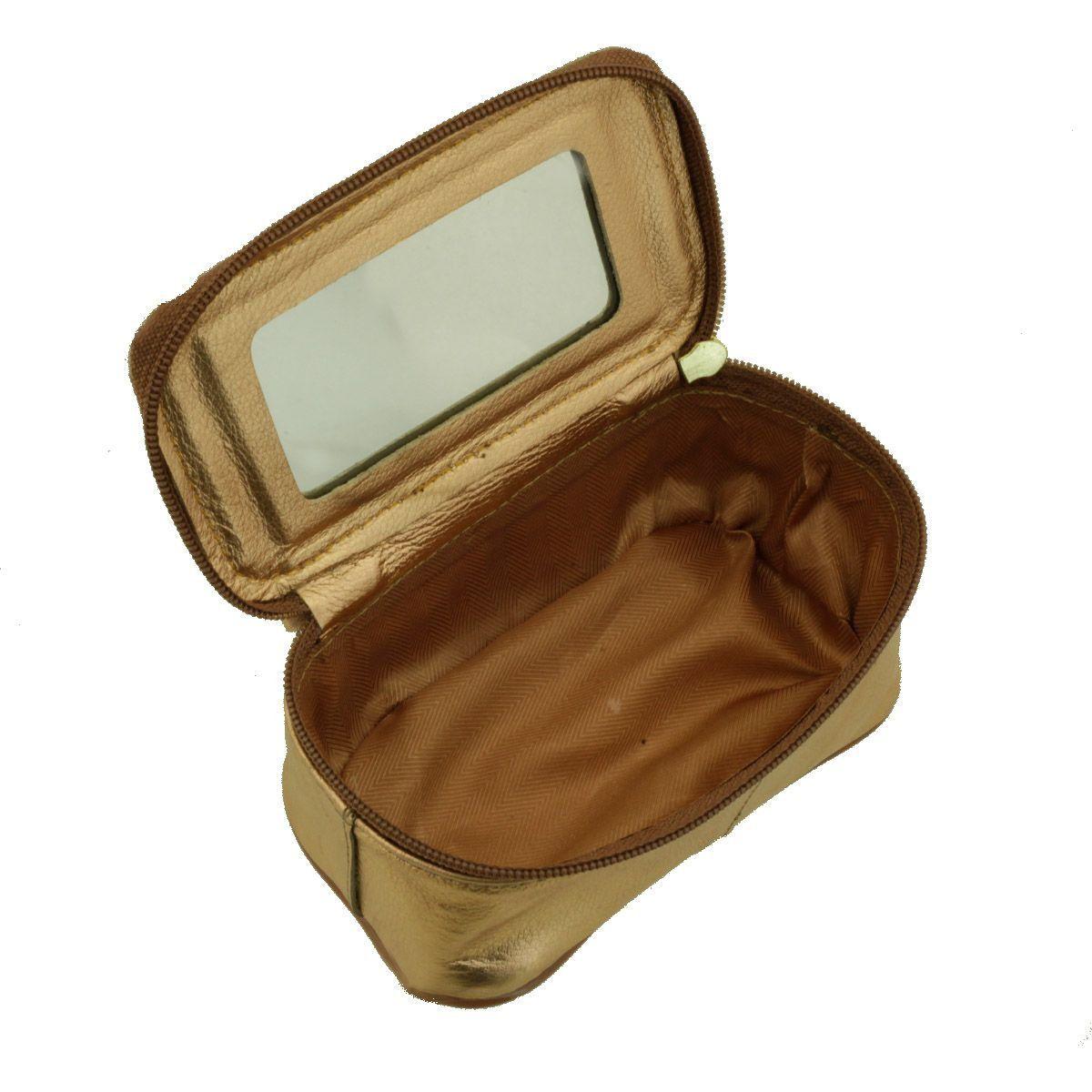 Necessaire com Espelho Metalizado Rosê