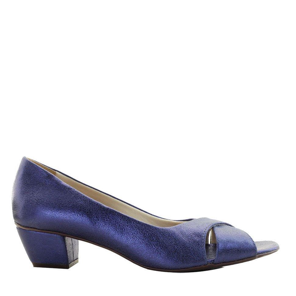 Peep Toe com Trançado Azul Metalizado