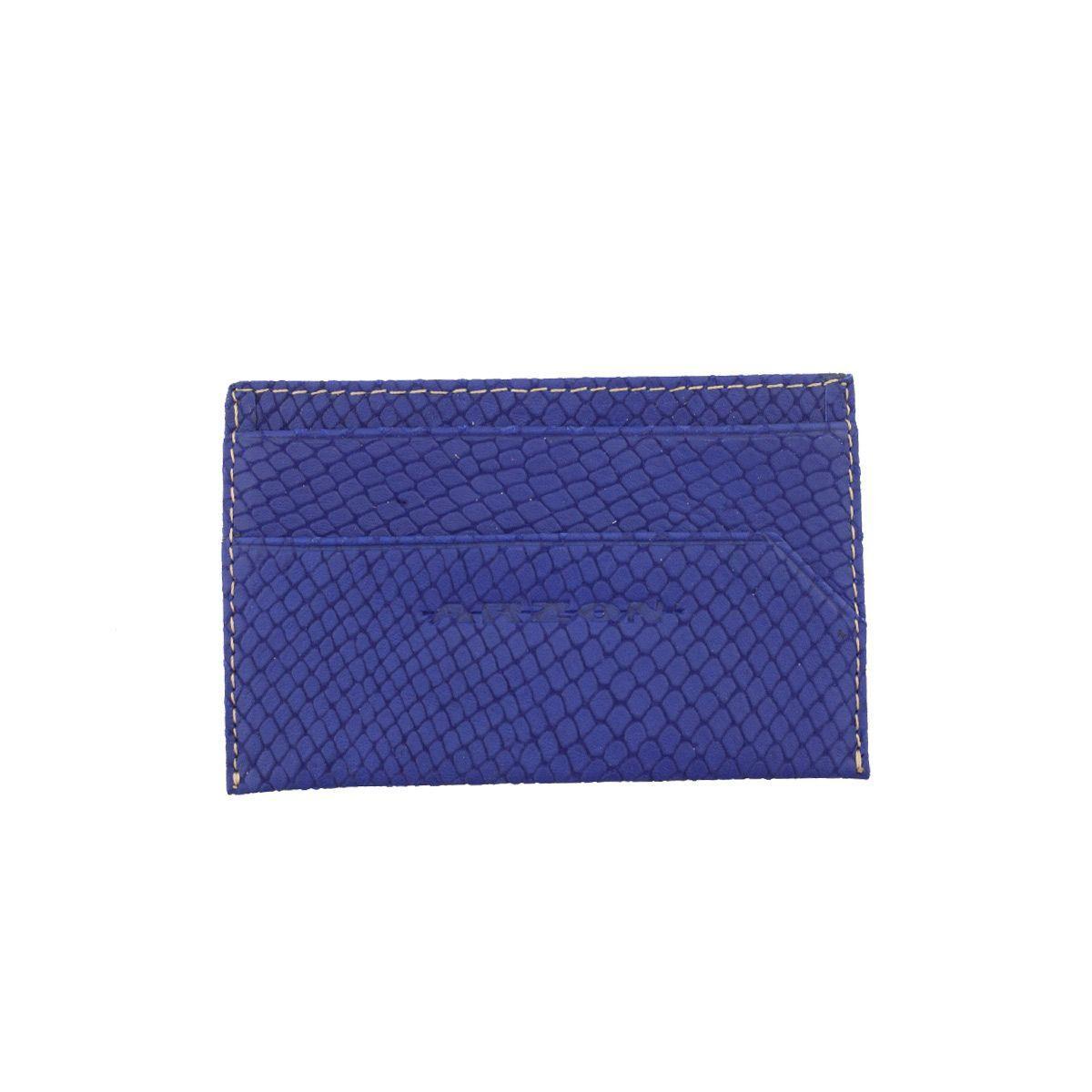 Porta Cartão em Couro Azul