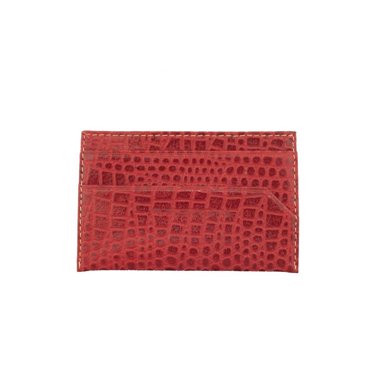 Porta Cartão em Couro Vermelho