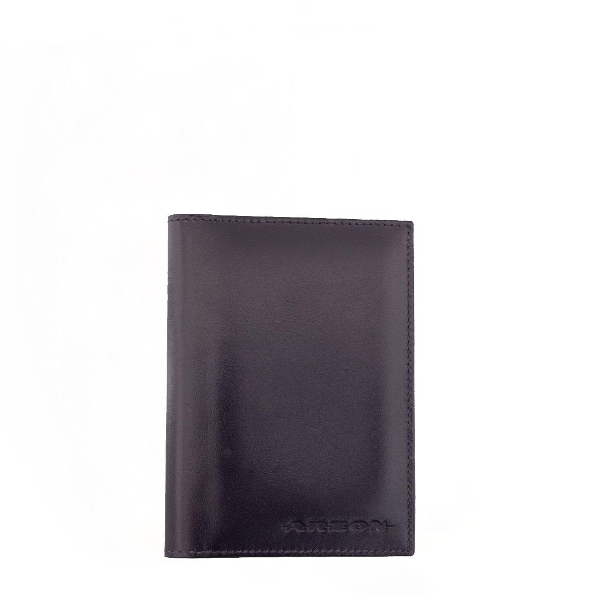 Porta Passaporte Vertical em Couro Preto