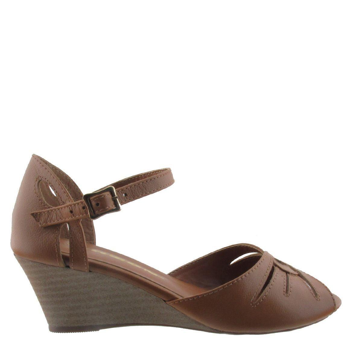 Sandália com Salto Anabela Chocolate