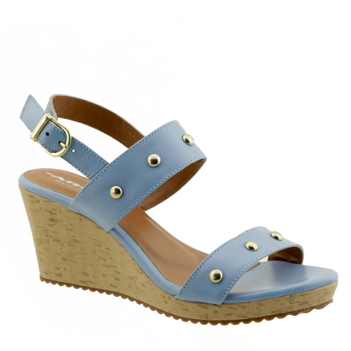 Sandália Salto Anabela Azul Bebê