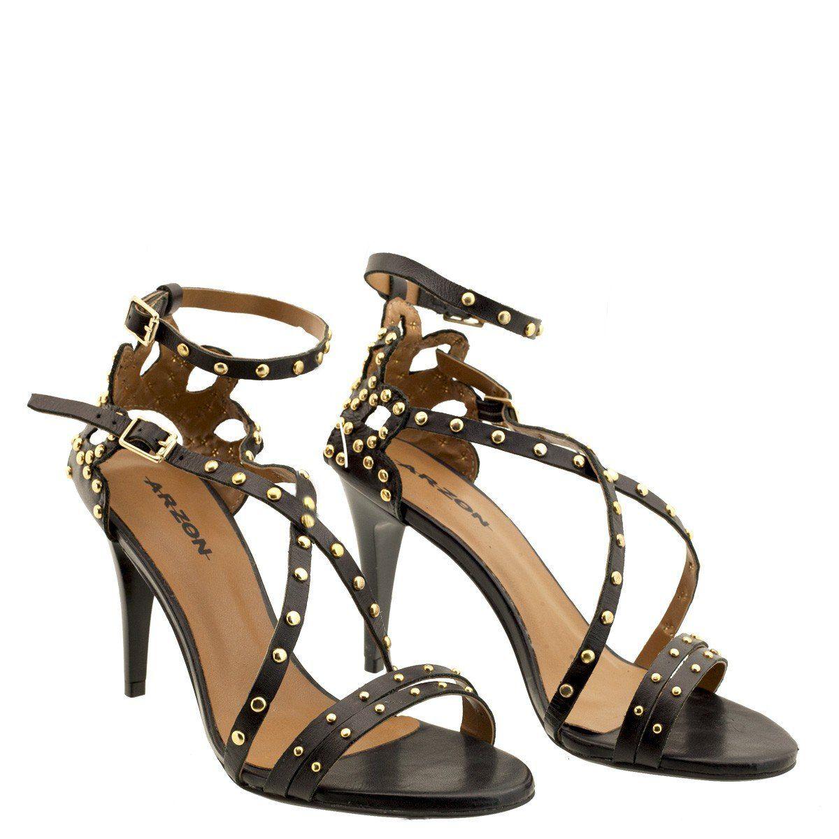 Sandália Salto Fino com Spikes Preto