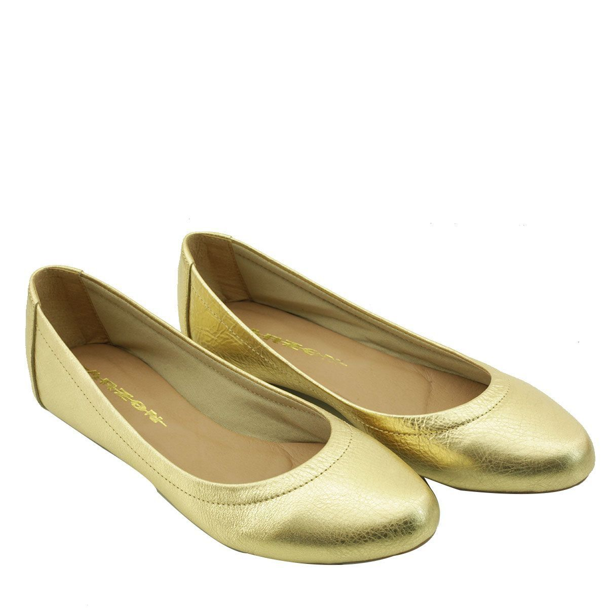Sapatilha Feminina de Couro Dourado