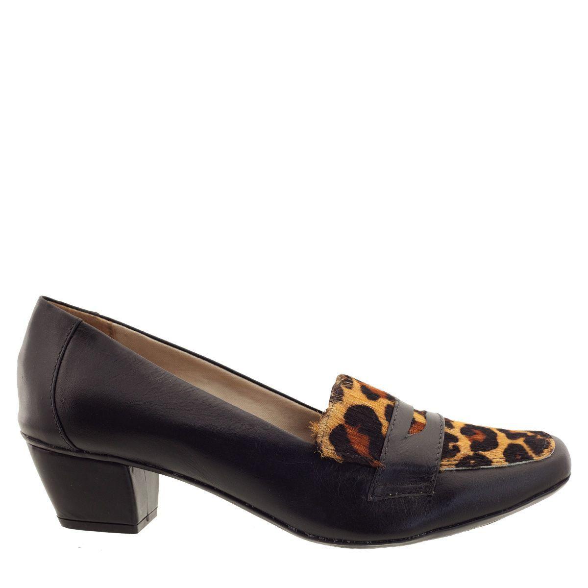 Sapato Mocassim com Salto Black