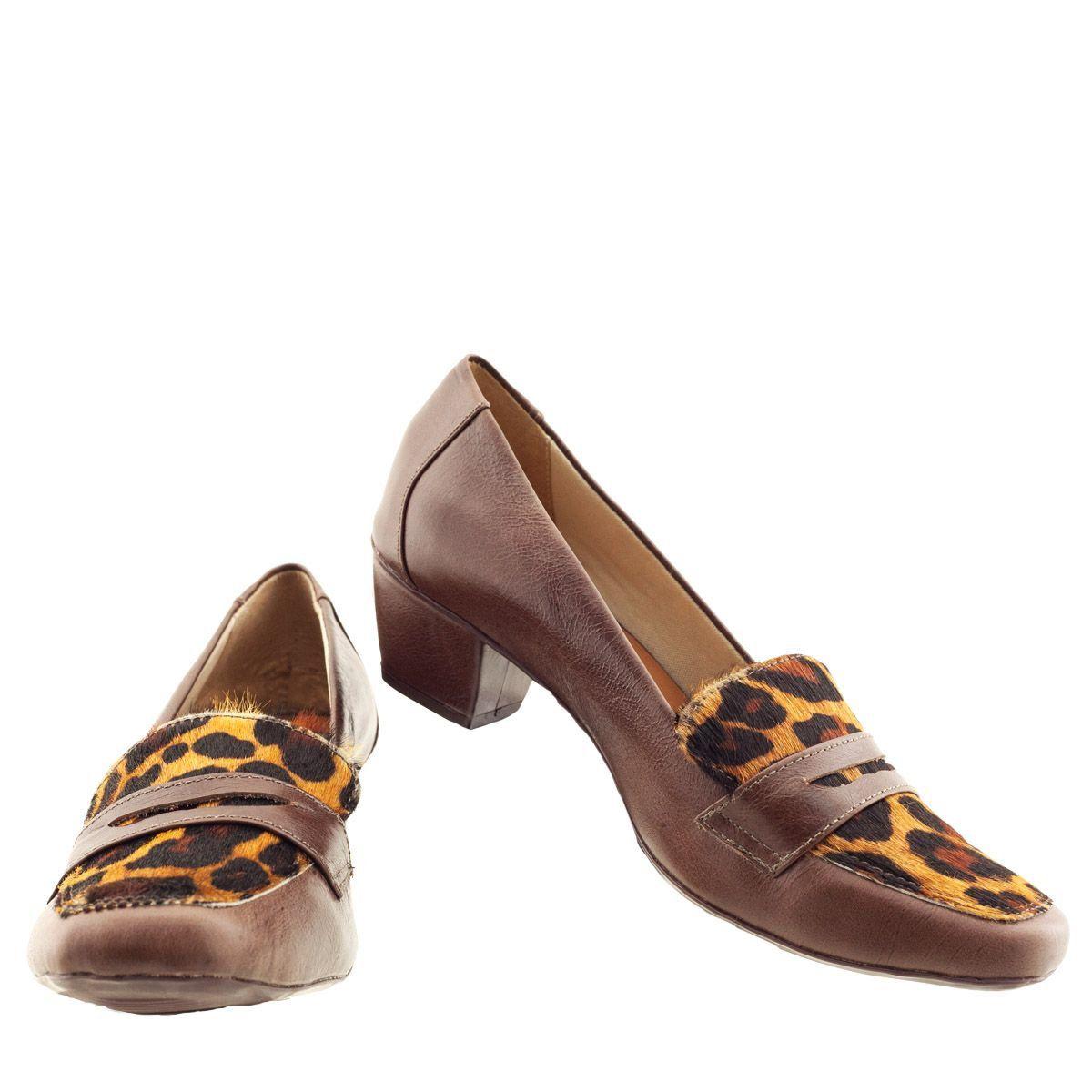 Sapato Mocassim com Salto Marrom