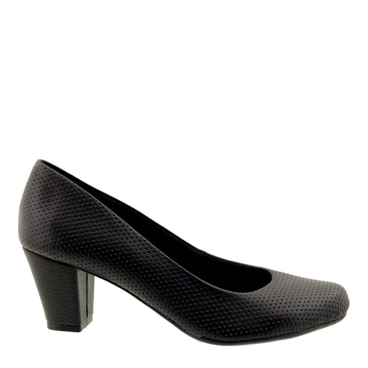 Sapato Scarpin Feminino de Couro Preto