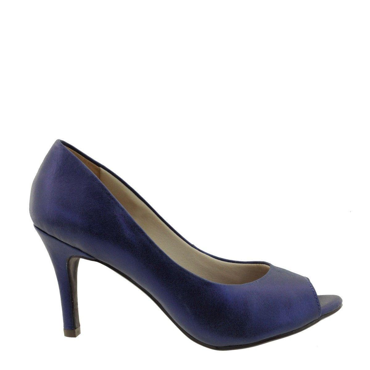 Peep Toe com Salto Fino Azul Metalizado