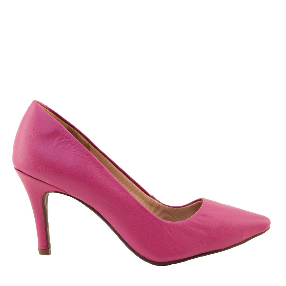 Scarpin Feminino Salto Alto Couro Pink
