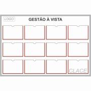 Quadro de Gestão Visual 140 x 95 cm (L x A) com 12 Displays PETG - Clace 1 UN