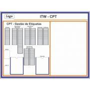 Quadro Kanban para Cartões T e Suporte (160 x 120cm) - Sob Medida