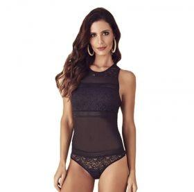 Body feminino com renda e detalhes em transparência Liebe  -
