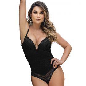 Body Feminino Rendado Com Bojo Decote Em V Linha Única Nayane Rodrigues