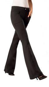 Calça feminina flare boca de sino com cós e bolso texturizada Loba Lupo .
