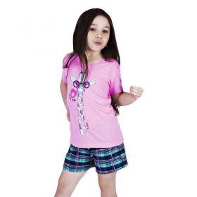 Conjunto Pijama de Verão Infantil Camiseta Manga e Short Doll Victory