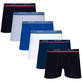Kit 6 Cuecas Boxer Adulto Com Algodão Lupo Branco / Preto / Azul M